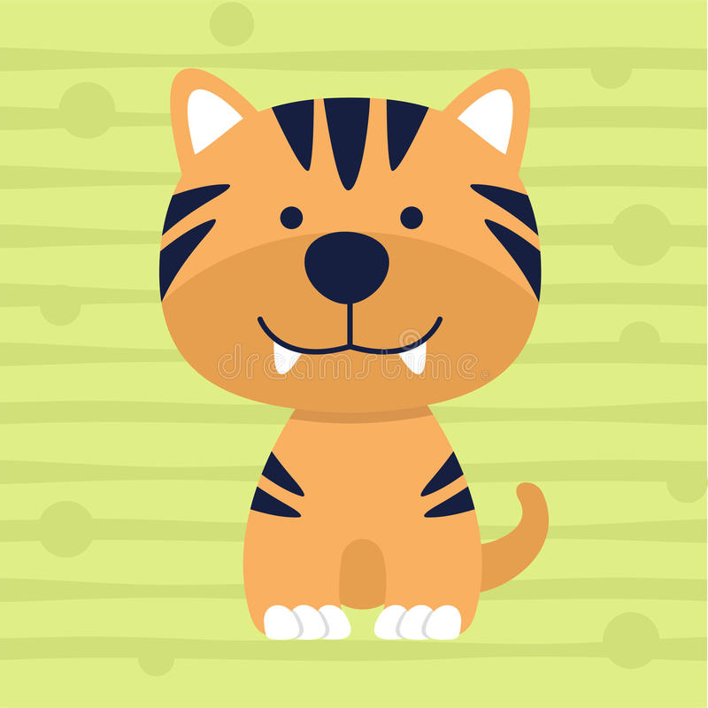 Дизайн и плакат футболки детей цвета милого маленького тигра мягкий бесплатная иллюстрация