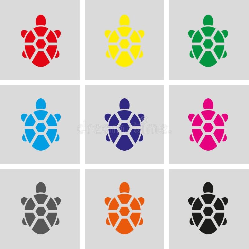 Дизайн иллюстрации вектора запаса значка черепахи плоский бесплатная иллюстрация