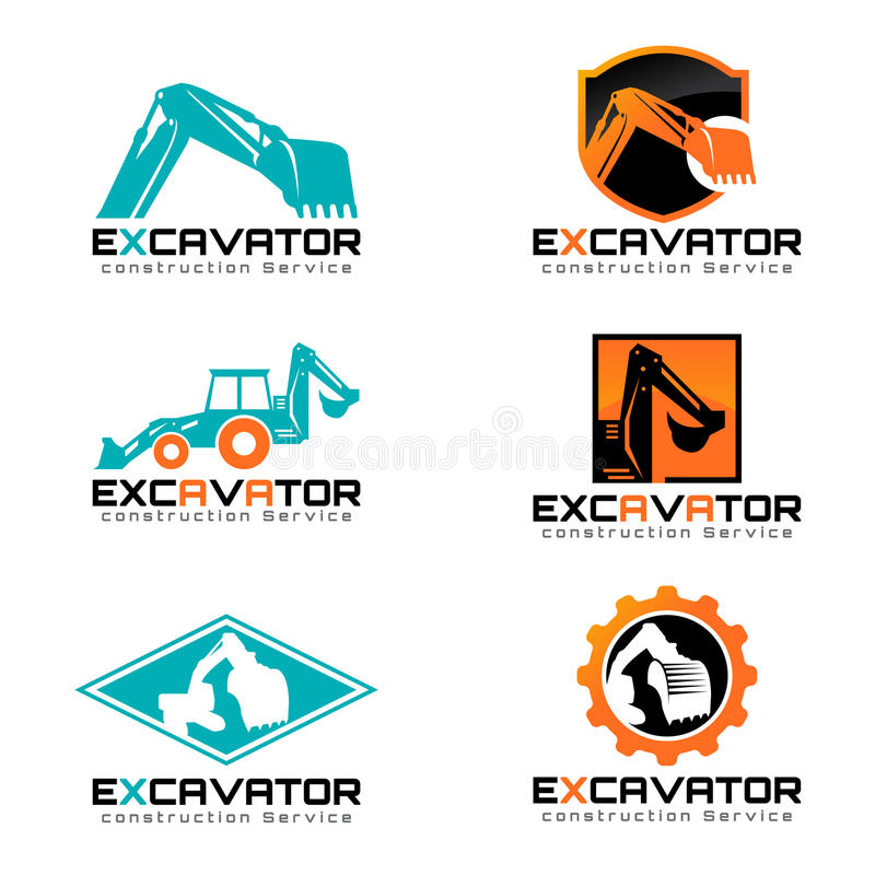 Дизайн иллюстрации вектора экскаватора и логотипа установленный бесплатная иллюстрация