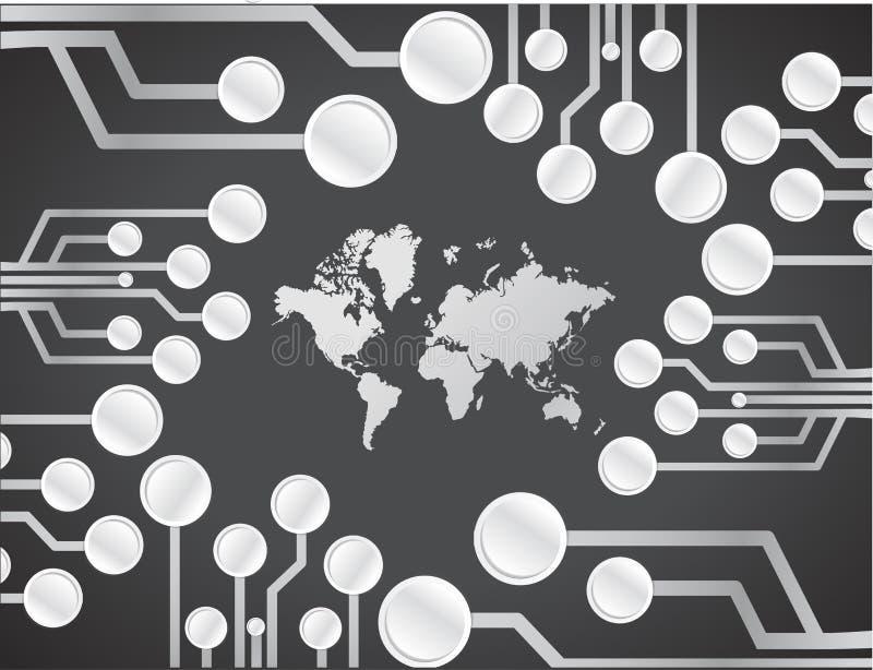 Дизайн иллюстрации монтажной платы карты мира бесплатная иллюстрация