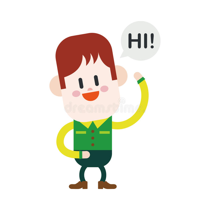 Дизайн иллюстрации характера Мальчик говоря высокий шарж, eps иллюстрация штока