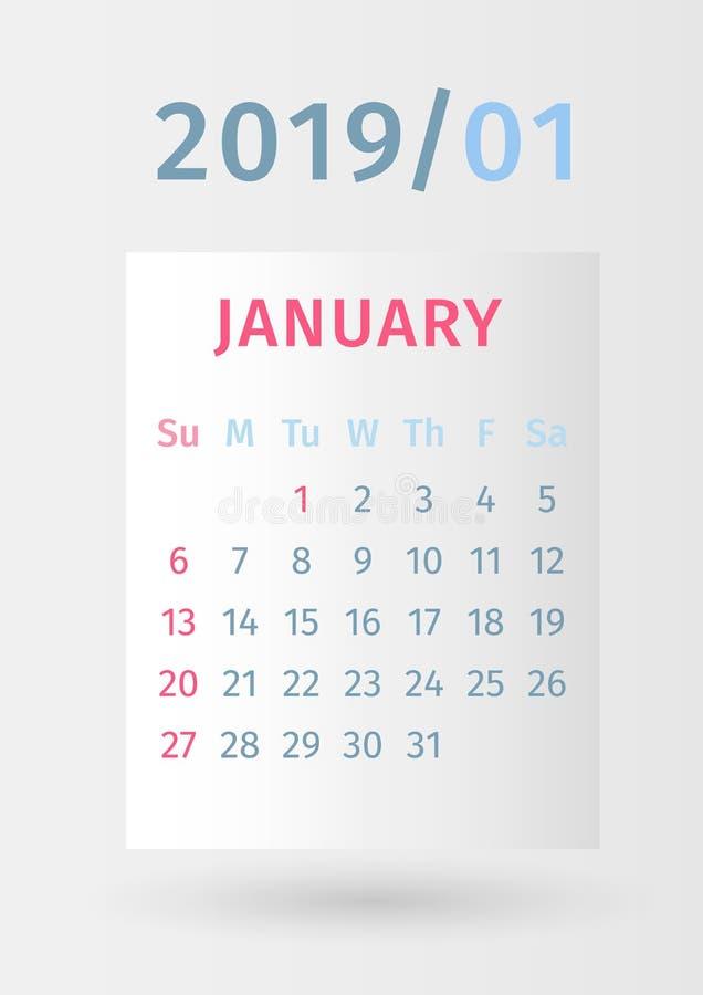 Дизайн календаря 2019 бумажный Страница январь Старты недели на воскресенье иллюстрация вектора