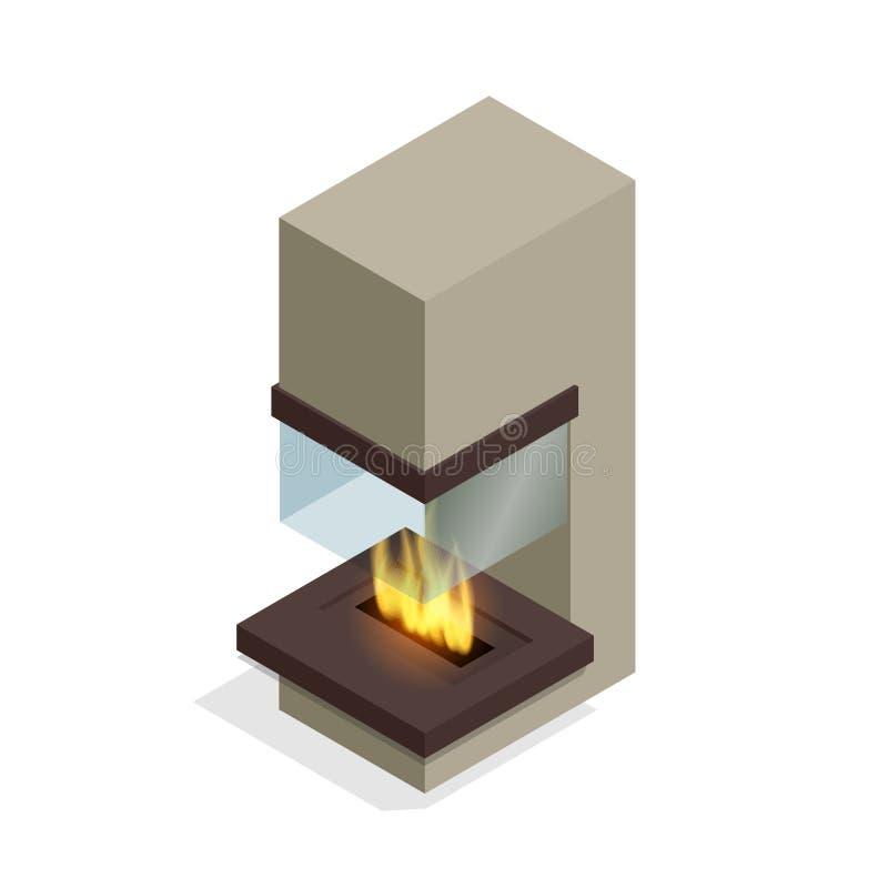 Дизайн камина современный Плоская равновеликая иллюстрация 3d бесплатная иллюстрация