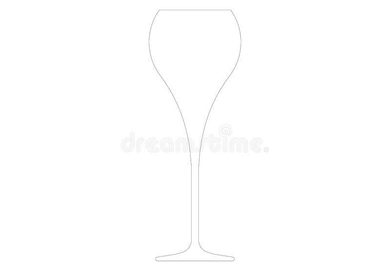 Дизайн каннелюры, бокал, шампанское, игристое вино иллюстрация штока