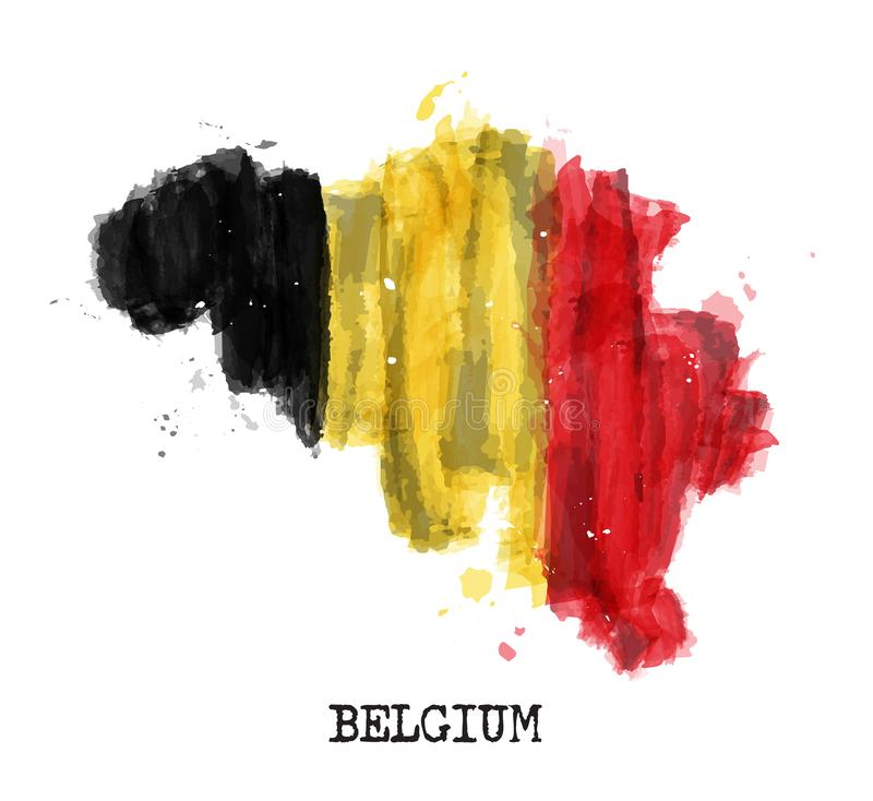 Дизайн картины акварели флага Бельгии Форма карты страны Спортивная команда и концепция 21-ое июля 1831 национального праздника r иллюстрация штока