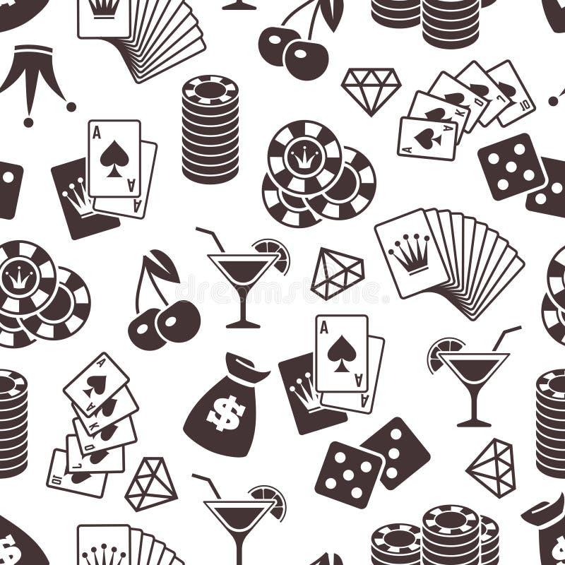 Дизайн картины казино безшовный Кость, предпосылка играя карточек безшовная иллюстрация штока