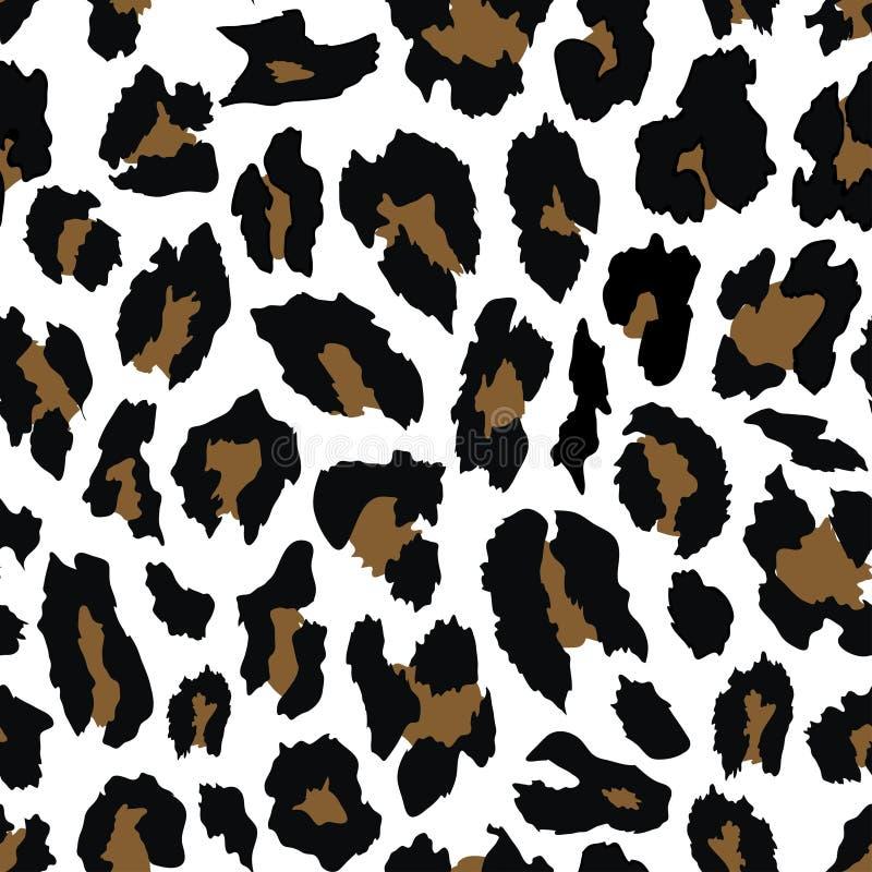 Дизайн картины леопарда безшовный иллюстрация цветков предпосылки свежая выходит вектор молока иллюстрация вектора