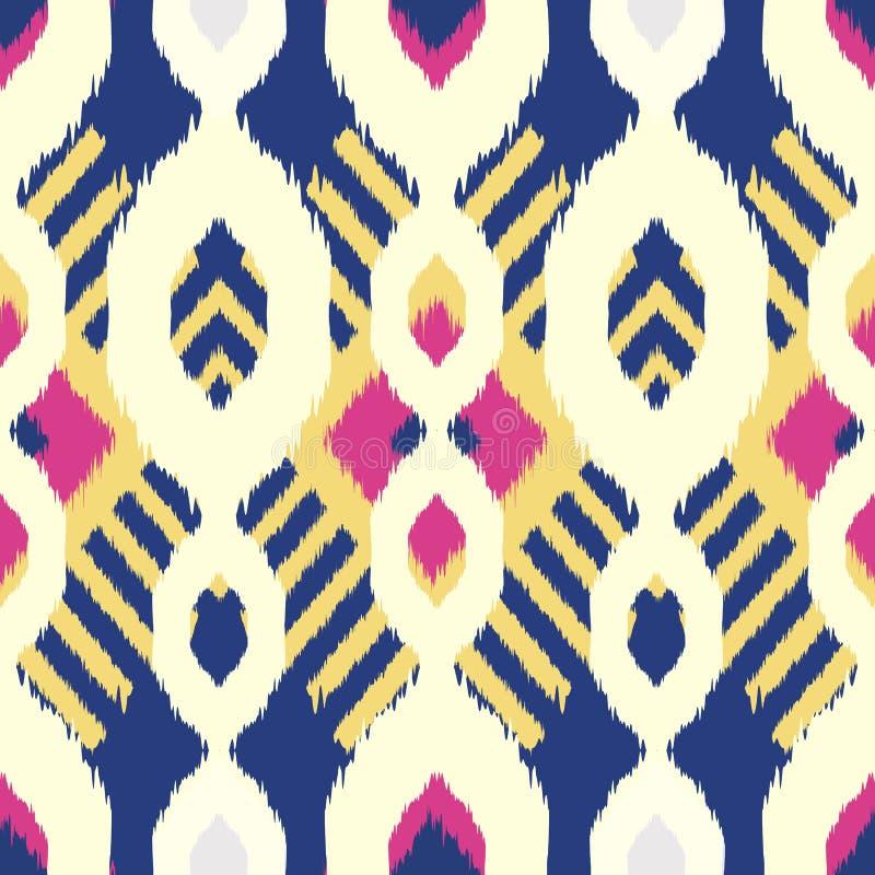 Дизайн картины Ikat безшовный для ткани иллюстрация вектора