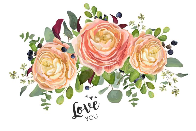 Дизайн карточки вектора флористический: цветки лютика персика сада розовые бесплатная иллюстрация