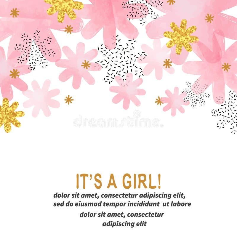 Дизайн карточки девушки детского душа с абстрактным пинком акварели цветет бесплатная иллюстрация