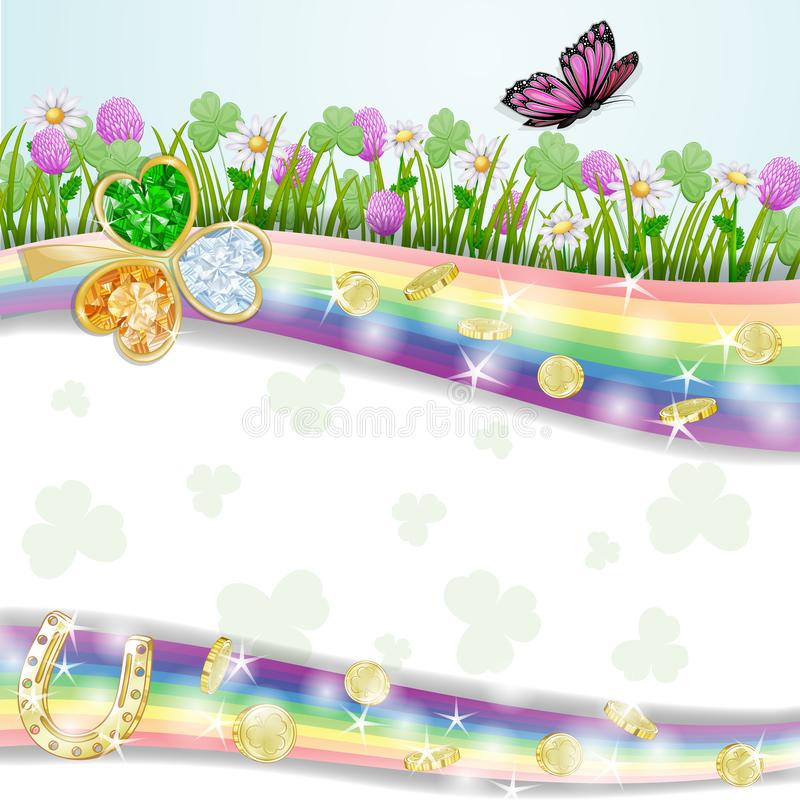 Дизайн карточки дня ` s St. Patrick с монетками и клевером стоковое фото