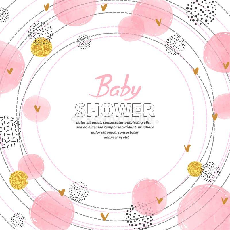 Дизайн карточки приглашения девушки детского душа с пинком акварели объезжает иллюстрация штока