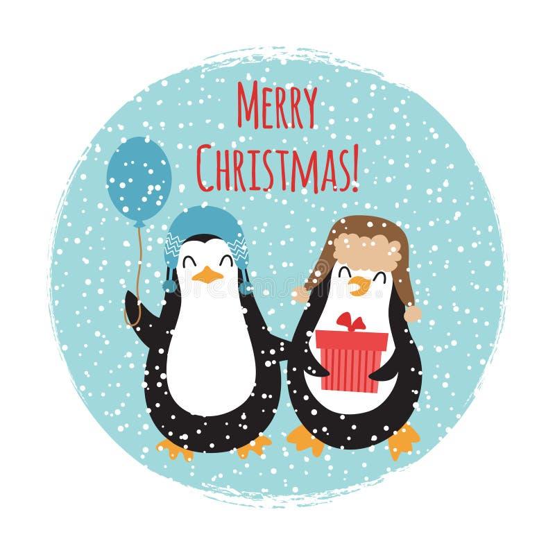 Дизайн карточки с Рождеством Христовым милых пингвинов винтажный иллюстрация вектора