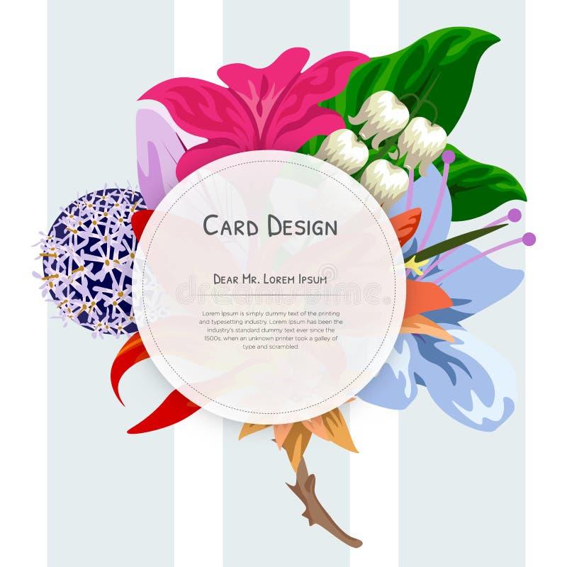 Дизайн карты приглашения события свадьбы с тропическими цветками, приглашает благодарит вас, дизайн карт события rsvp современный иллюстрация вектора