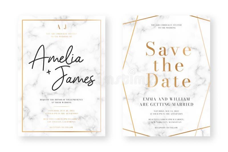 Дизайн карты свадьбы с золотыми рамками и мраморной текстурой Объявление свадьбы или шаблон дизайна приглашения иллюстрация вектора