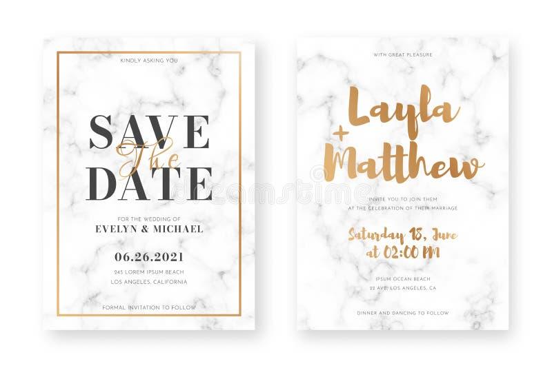 Дизайн карты свадьбы с золотыми рамками и мраморной текстурой Объявление свадьбы или шаблон дизайна приглашения иллюстрация штока