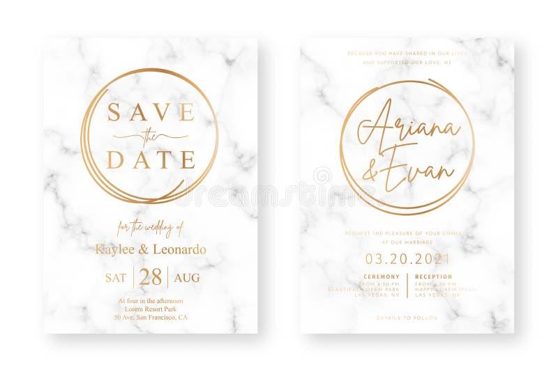 Дизайн карты свадьбы с золотыми рамками и мраморной текстурой Объявление свадьбы или шаблон дизайна приглашения бесплатная иллюстрация