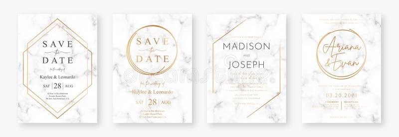 Дизайн карты свадьбы с золотыми рамками и мраморной текстурой Установите объявления или приглашения свадьбы иллюстрация штока