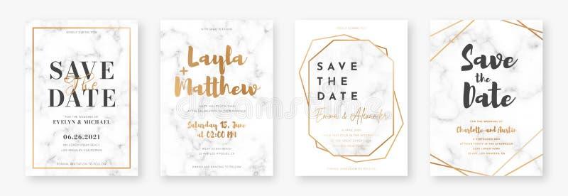 Дизайн карты свадьбы с золотыми рамками и мраморной текстурой Установите объявления или приглашения свадьбы бесплатная иллюстрация