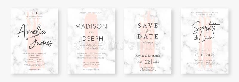 Дизайн карты свадьбы с розовыми ходами щетки и мраморной текстурой Установите объявления или приглашения свадьбы иллюстрация вектора