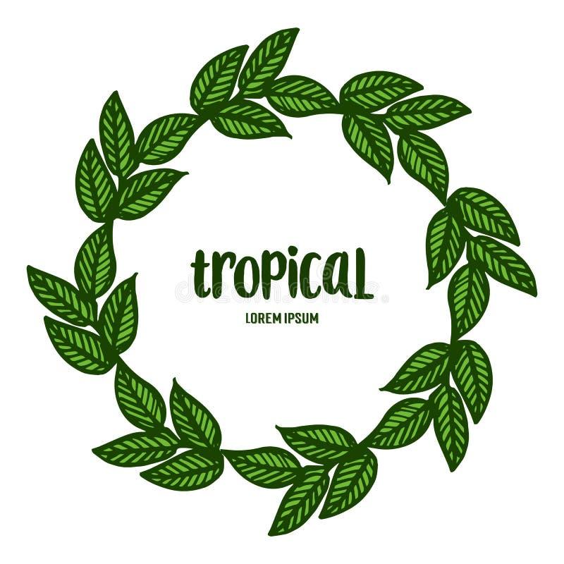 Дизайн карты тропический с красивой рамкой венка лист r бесплатная иллюстрация