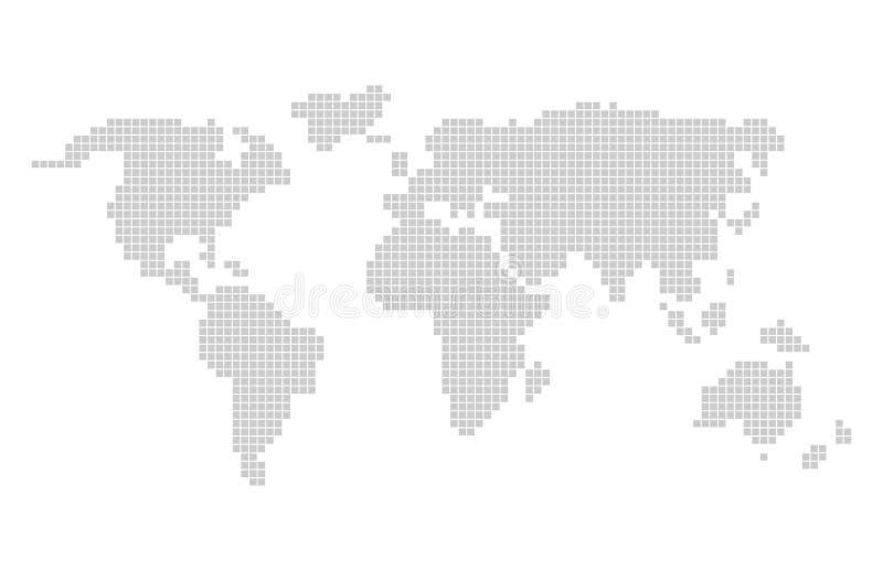 Дизайн карты wolrd пиксела Серая карта мира вектора пикселов иллюстрация штока