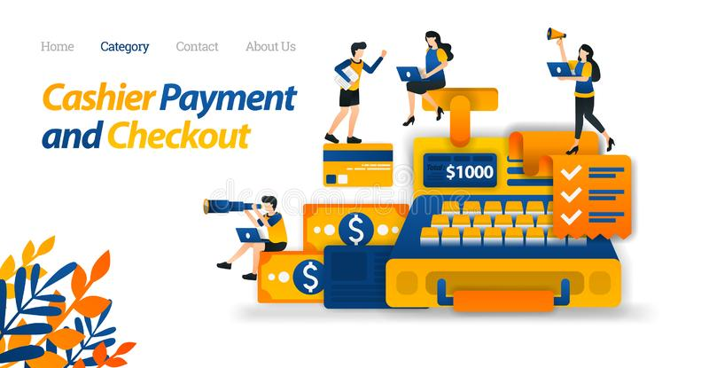 Дизайн кассового аппарата для целей дела, финансов и электронной коммерции Дизайн кредитной карточки денег и Иллюстрация вектора, иллюстрация вектора
