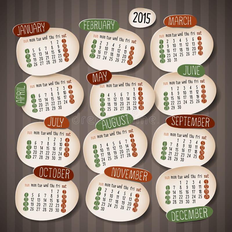 Дизайн календаря 2015 иллюстрация вектора