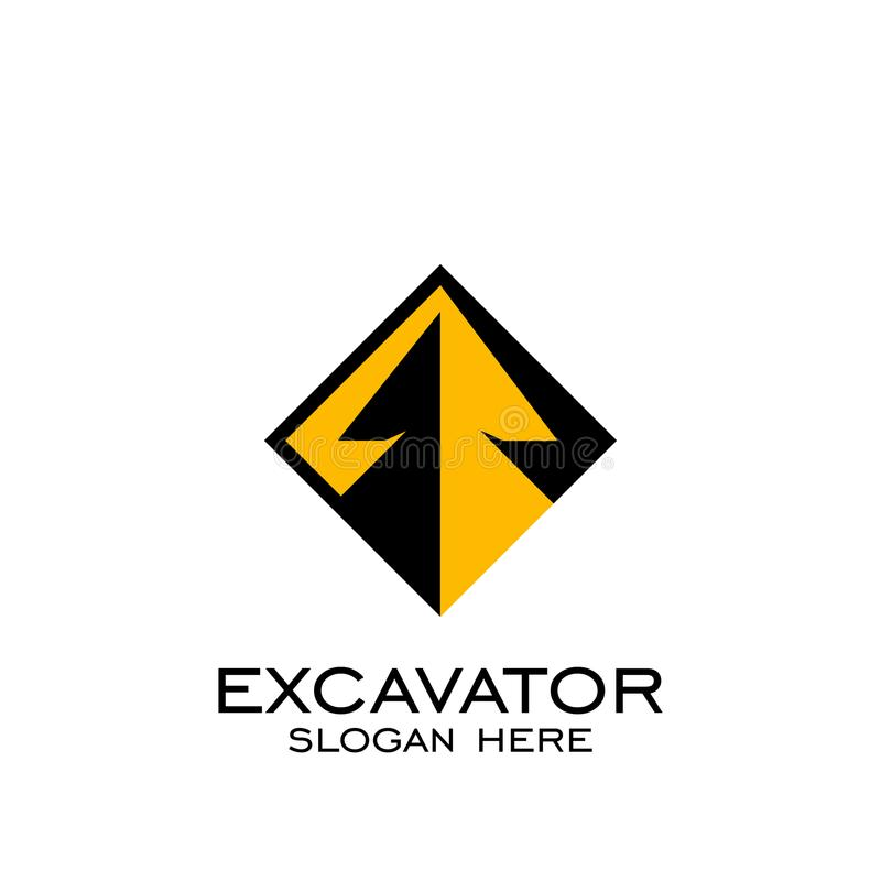 Дизайн квадрата вектора логотипа экскаватора, значок вектора иллюстрация вектора
