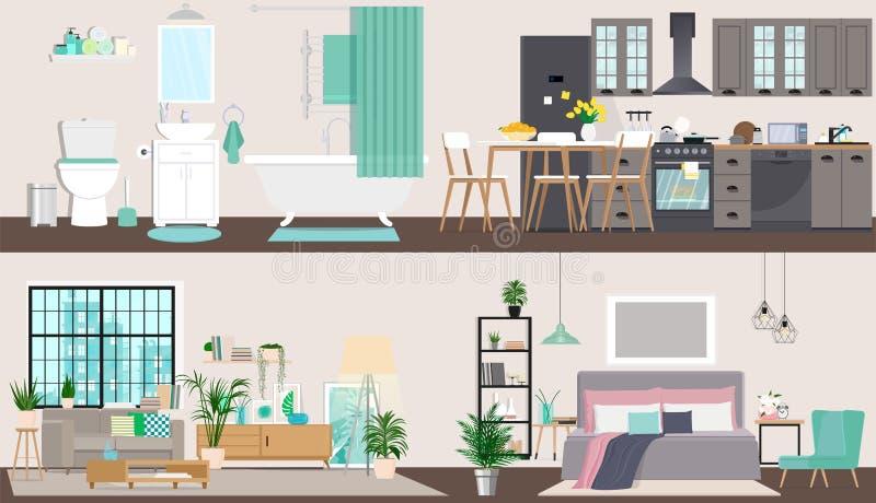 Дизайн квартиры подробно Внутренность дизайна интерьера Иллюстрация вектора в плоском стиле бесплатная иллюстрация