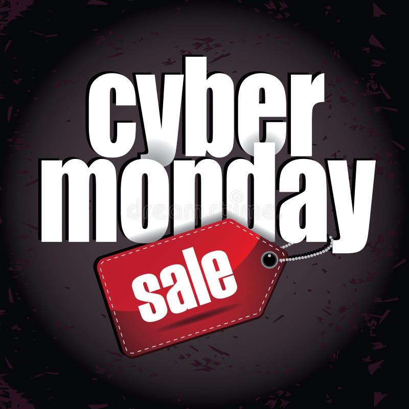 Дизайн кибер наслоенный понедельником с биркой продажи иллюстрация вектора