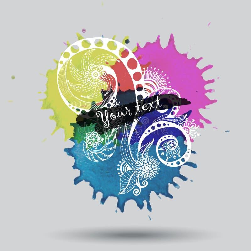 Download Дизайн конспекта акварели вектора с Doodle Иллюстрация вектора - иллюстрации насчитывающей декор, листья: 40586444