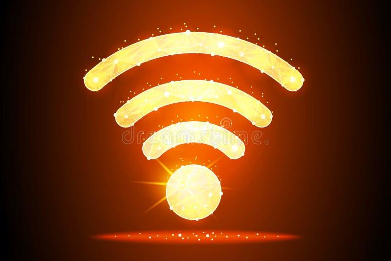 Дизайн конспекта значка Wi-Fi созданный в форме звезд и созвездий на предпосылке космоса, изолированной от низкое поли иллюстрация штока