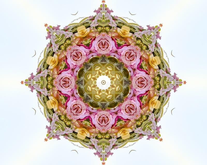 Дизайн конспекта круговой флористический с розовым желтым цветом и красными розами на поле белизны иллюстрация вектора