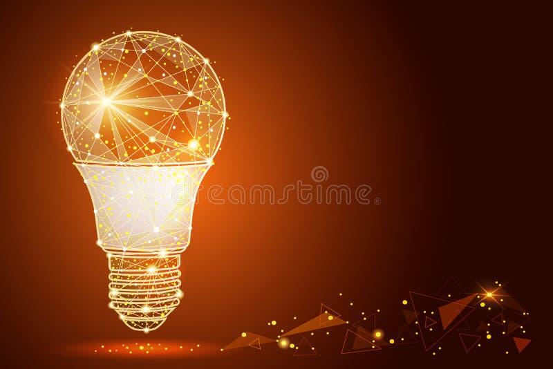 Дизайн конспекта электрической лампочки логотипа, в низком поли стиле, в форме линий и звезд также вектор иллюстрации притяжки co бесплатная иллюстрация