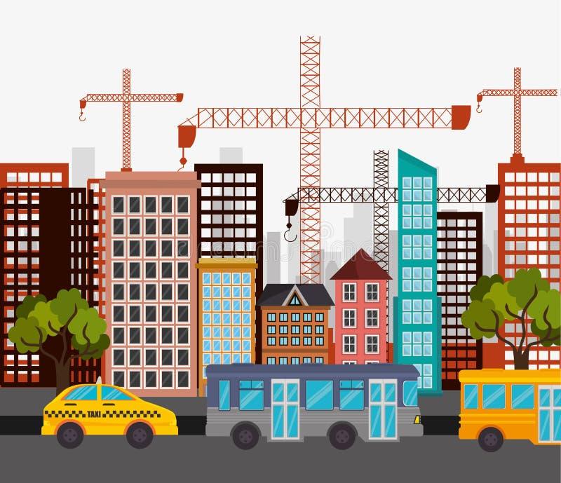 Дизайн конструкции крана улицы города шины кабины иллюстрация вектора