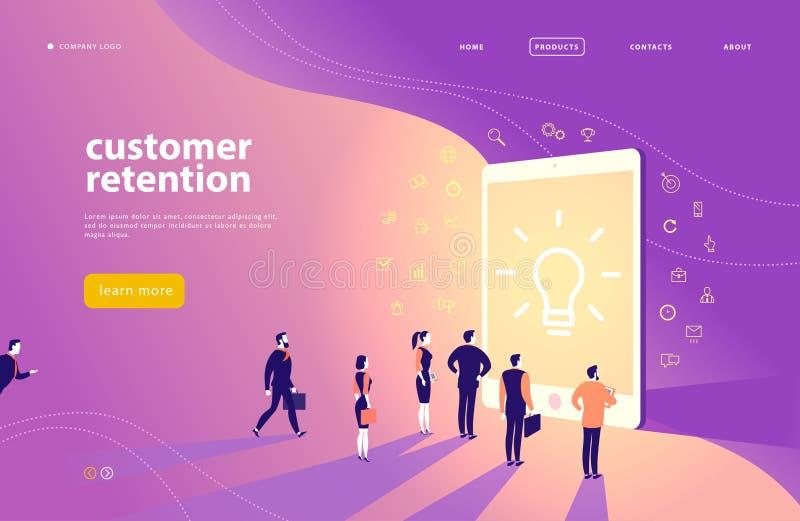 Дизайн концепции интернет-страницы вектора с темой удерживания клиента - люди офиса стоят на большом цифровом экране таблетки иллюстрация вектора