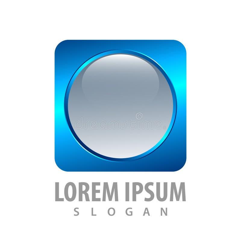 дизайн концепции кнопки круга 3d голубой квадратный Вектор элемента шаблона символа графический иллюстрация штока