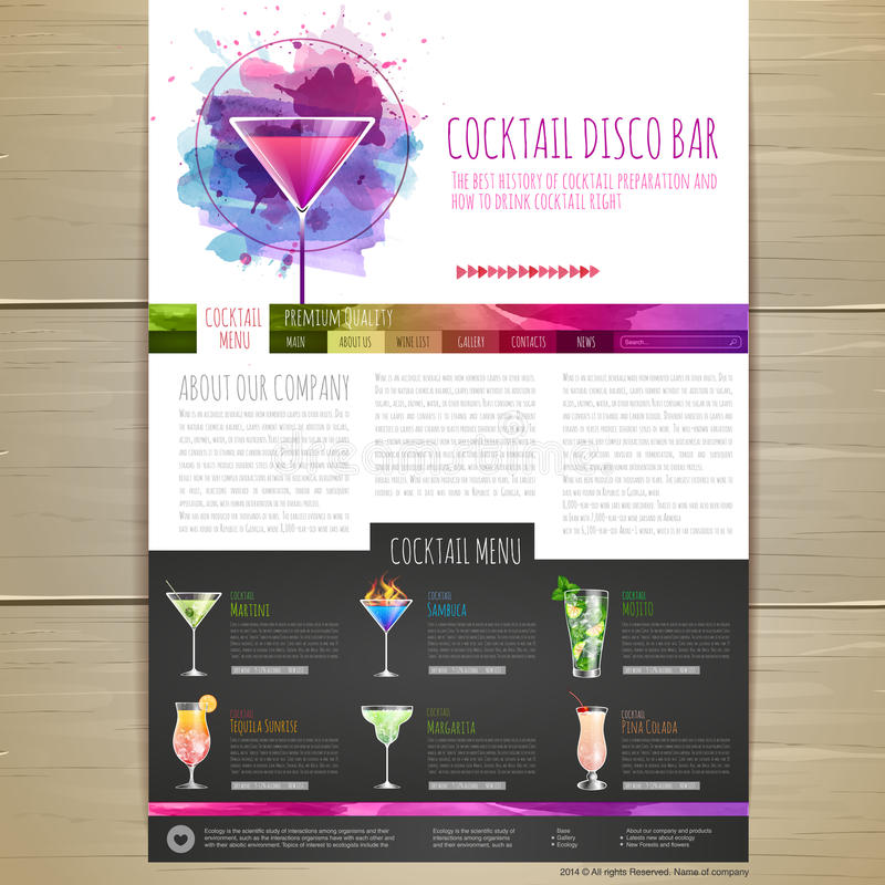 Дизайн концепции коктеиля акварели вектор шаблона корпоративной тождественности дела произведений искысства Дизайн вебсайта бесплатная иллюстрация