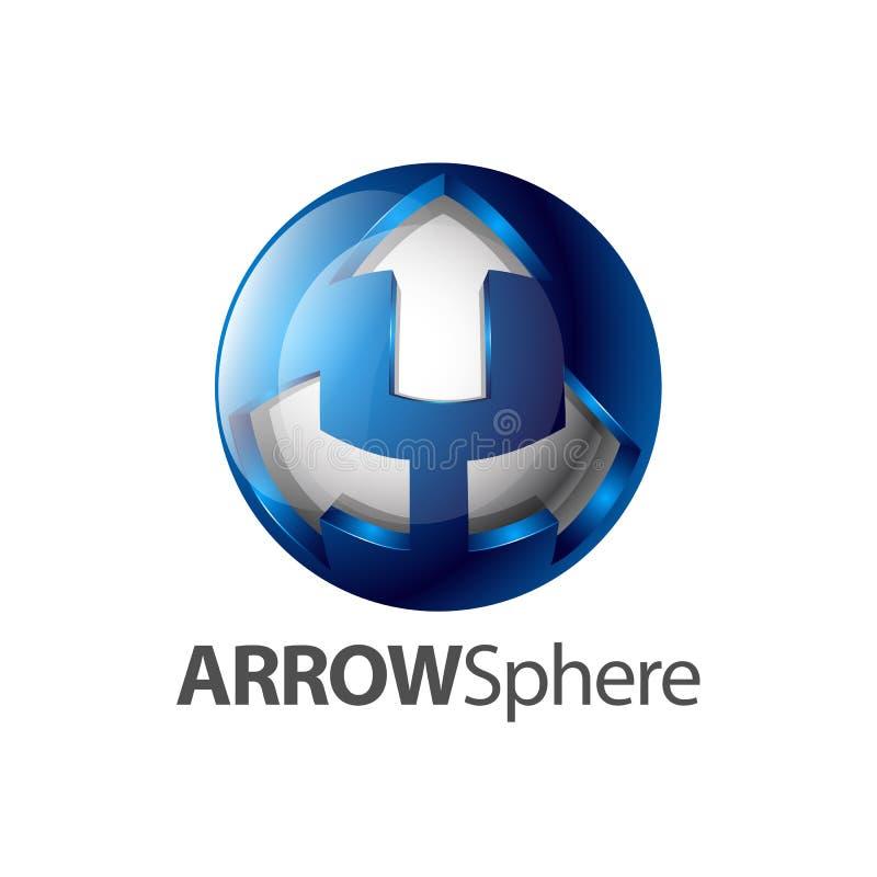 Дизайн концепции логотипа сферы 3 стрелок Элемент шаблона символа графический иллюстрация штока