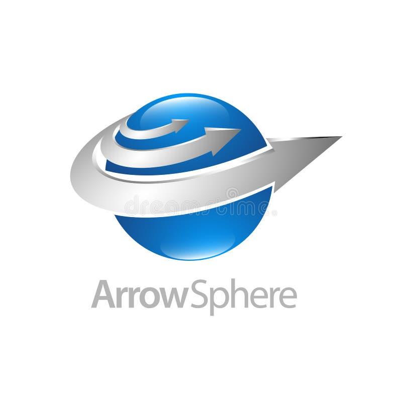 Дизайн концепции логотипа сферы 3d стрелки Элемент шаблона символа графический бесплатная иллюстрация