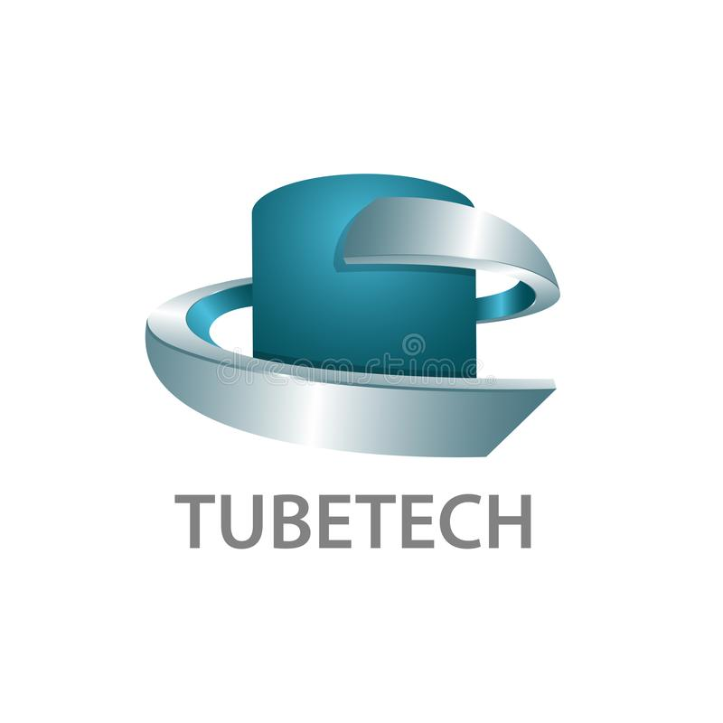 Дизайн концепции логотипа технологии трубки трехмерный стиль 3D Шаблон символа графический иллюстрация штока