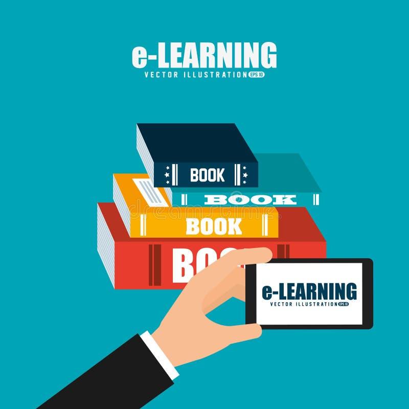 Дизайн концепции обучения по Интернетуу иллюстрация вектора