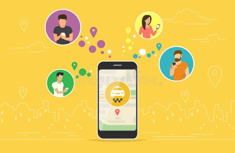 Дизайн концепции такси резервирования онлайн иллюстрация штока