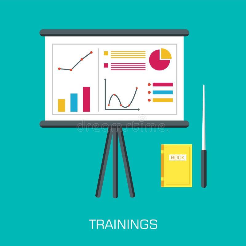 Дизайн концепции тренировки Стол дела аналитика infographic с книгой и блокнотом иллюстрация цветков предпосылки свежая выходит в иллюстрация вектора