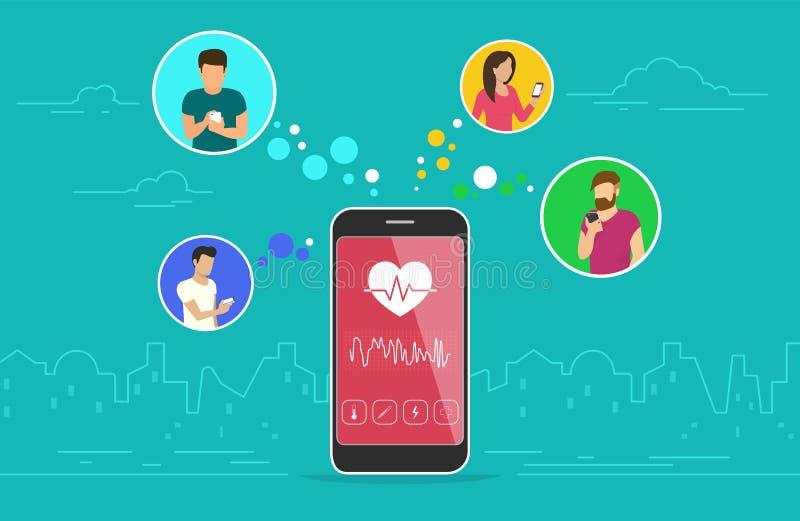 Дизайн концепции app здравоохранения передвижной иллюстрация штока