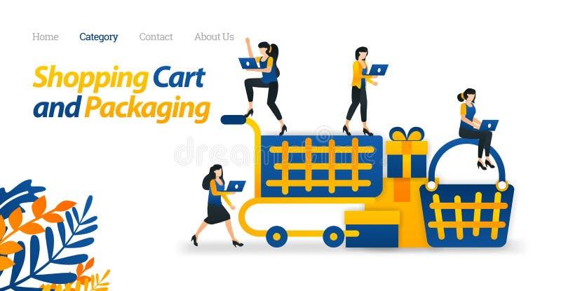 Дизайн корзины для целей сети и электронной коммерции Используйте вагонетки и корзину для того чтобы ходить по магазинам r Плоски бесплатная иллюстрация