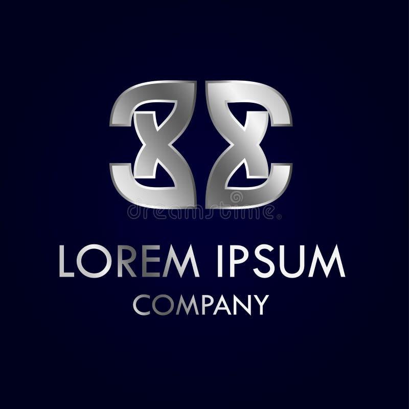 Дизайн красивого абстрактного серебряного дизайна логотипа схематический иллюстрация вектора
