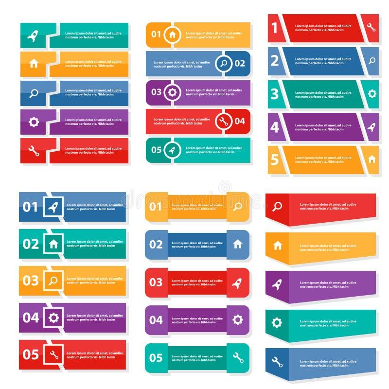 Дизайн красочного шаблона представления элементов Infographic ярлыка плоский установил для маркетинга листовки рогульки брошюры иллюстрация вектора