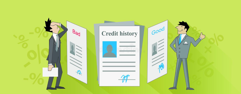 Дизайн кредитной истории плохой и хороший иллюстрация вектора
